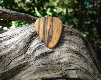 Wooden Guitar Pick, Hand-Crafted, Exotic Black & White Ebony