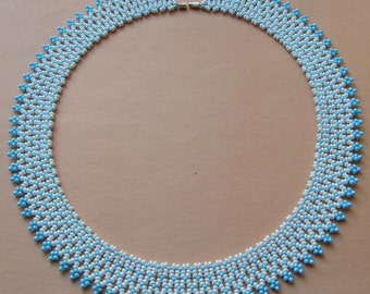 White and light blue, handmade beaded necklace, Hungarian folk inspiration