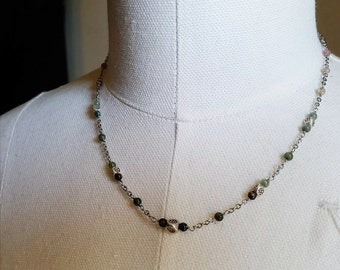 Natural Tourmaline & Hill Tribe Silver Necklace