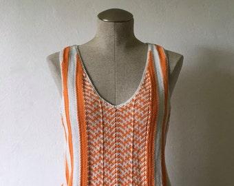 Orange Striped Knit Top