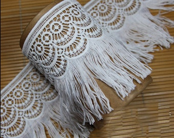 "5 yard 10.5cm 4.13"" wide ivory tassels fringe lace trim ribbon L17K3 free ship"