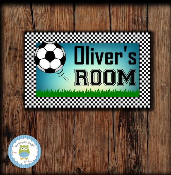 Personalized Soccer Bedroom Door Sign For Kids