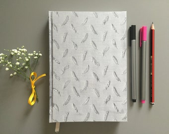 Grey/ Silver Feather Print Hardback A5 Ruled Notebook