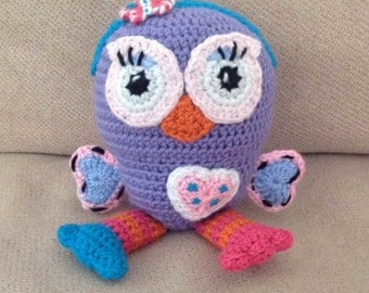 Lil Miss Hoot crochet owl soft toy MADE TO ORDER crochet stuffie