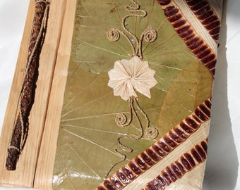 Vintage Handmade Paper Journal Bound in Preserved Leaves and Flowers