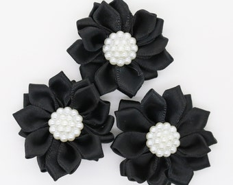 3 Black Satin Ribbon Flowers with Pearl Center, Mini Ribbon Flowers, Layer Flowers.