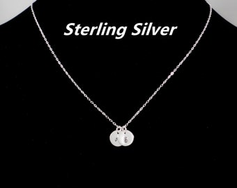 Initial Necklace,Personalized Necklace,dainty necklace,sterling silver necklace,disc necklace,sisters necklace,Monogrammed Jewelry