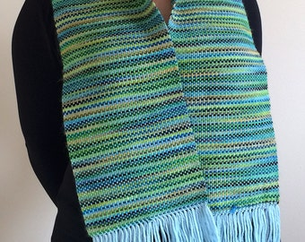 Handwoven silky soft woodland green wool scarf