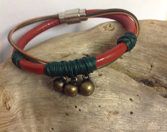 Women's leather bracelet, brown leather, Red leather.