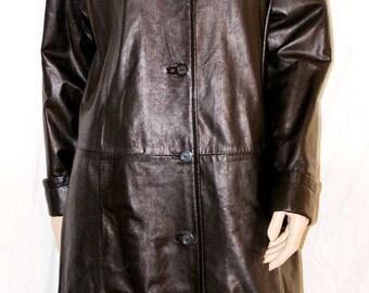 Black leather coat | Etsy