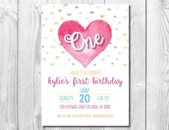 Girl Birthday Party Invitation >> Heart Party Invite << First Birthday Party >> 1st Birthday >> Any Age << Custom Printable Digital File