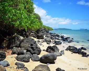 Oahu Beach - Volcanic Rocks 8x10 & 5x7