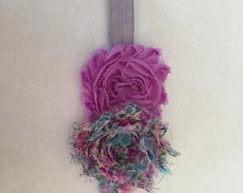 Lilac double flower headband