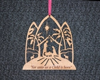 nativity ornament with palm trees