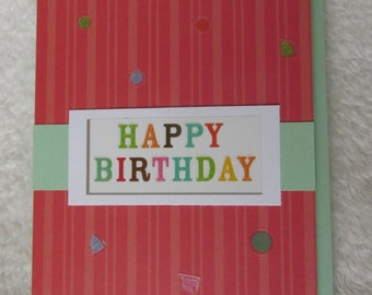 "Happy Birthday card, trifold, handmade 4.25"" x 5.5"" includes envelope"