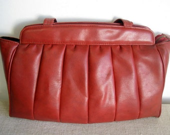 vintage leather bag red bordo handbag Red genuine leather bag Soviet design handbag retro Purse Bag has inside pockets Made in USSR 80s