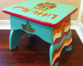 Step Stool Owl Hand-painted Children's Little Hoot Step Stool