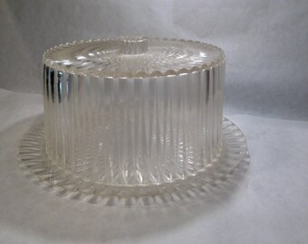 Vintage Cake Plate Dome Cover Set Mid Century