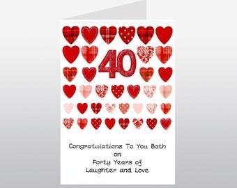 Ruby Wedding Anniversary Card Rows of Hearts WWWE66