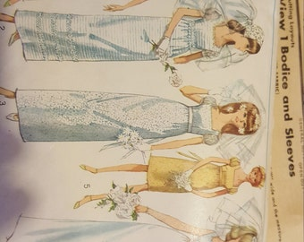 1966  Simplicity Wedding Dress #6823 Cut Pattern size 14