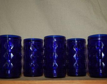 Francesinho Brazil mid century cobalt blue tumblers. Set of 5 vintage glasses