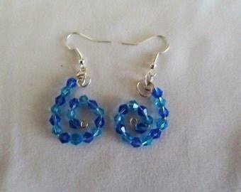 Silver n Blue Spiral Earrings