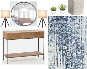 Interior Design Service - Entryway Design - Virtual Design - Mood Board - Shopping List - Affordable and Easy