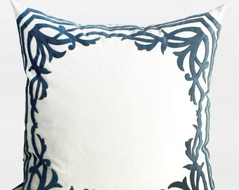luxury sky blue european frame embroidered pillow cover 22x22