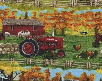 Farmall Tractor Border fences in Fields, Sykel Fabrics