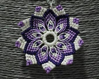 Micro macrame with string purple mandala pendant