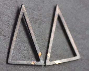 GEOM Handmade Oxidised Sterling Silver & 24ct Gold Triangle Studs