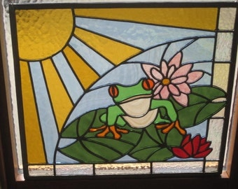 Sunny Frog on Lily Pad Stained Glass