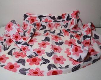 1960's Pink Flowered Half Apron