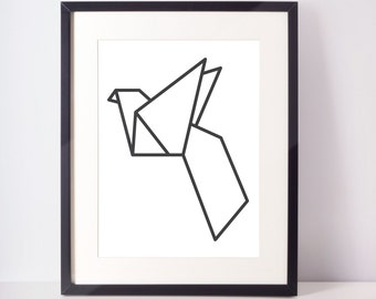 Origami Bird Print, Black and White, Digital Print, Geometric, Modern, Wall Decor, Wall Art, Home Decor, Office Decor