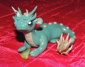 Jungle green dragon figurine polymer clay