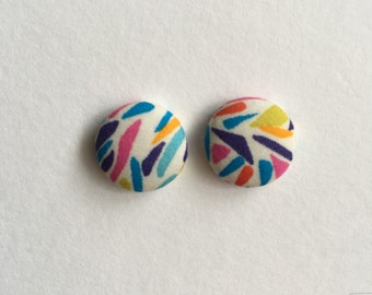 15mm Fabric Studs • Bright Spark • Surgical Steel • fabric stud earrings • button studs • button earrings