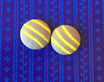 20mm Grey with Neon Yellow Stripe Fabric Studs