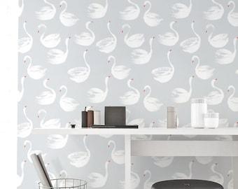 Removable Wallpaper, Self-adhesive Wallpaper, Swan pattern Wallpaper, Wall Décor, Walpaper murah, Wallcovering - JW087