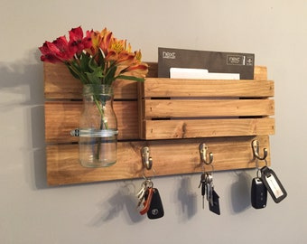 Rustic Letter rack with hooks