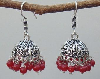 Indian Jhumka earrings | Red beads earrings | Dangle Earrings | Oxidized Jewelry earrings | Tribal earrings | Ethnic earring jewelry | E48