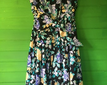 80's Laura Ashley Strapless Floral Dress With Back Bow