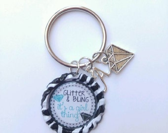Glitter and bling/ bottle cap key chain/ its a girl thing/ zebra bottle cap/ zebra bottle cap key chain/ key chain/ black and white zebra