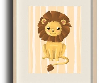 Lion Nursery Print, lion wall print, nursery decor, baby room art, baby room decor, cute digital art with Instant Download