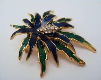 Vintage Enamel Flower Brooch 1980's with Rhinestones