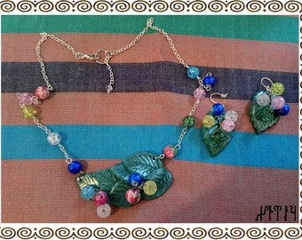 """Jewelry set handmade from polymer clay """"Spring Leaves"""""""