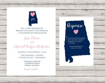 State Wedding Invitation, Printable Wedding Invitation Suite, Alabama Wedding Invitation, Printable Wedding Invitation Set