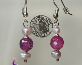 Fuchsia agata beads and  water pearls  earrings