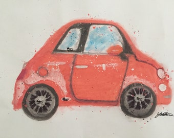 Custom Fiat 500 Watercolour