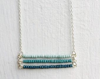 Ombre Blue Triple Bar Necklace