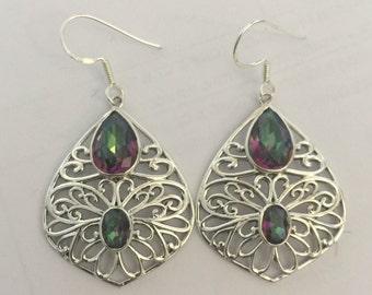 mystic topaz sterling silver earring
